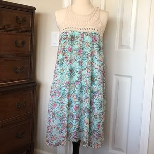 BOHO Floral Geometric lined dress with macrame